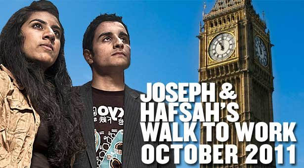 Joseph and Hafsah's big walk to work